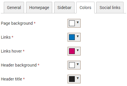 Template colors can be changed in the control panel